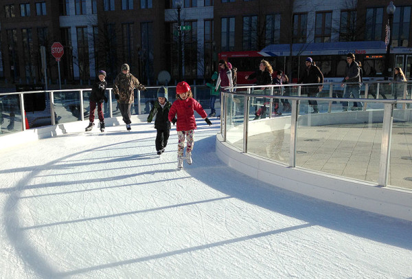 Skating in the city at Canal Park Ice Rink