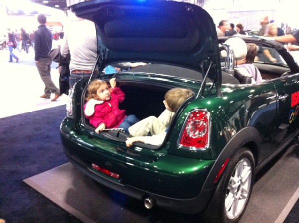 Demonstrating how to make a Mini Cooper a family car at the Washington Auto Show