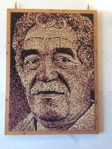 A wine cork portrait of Gabriel García Márquez