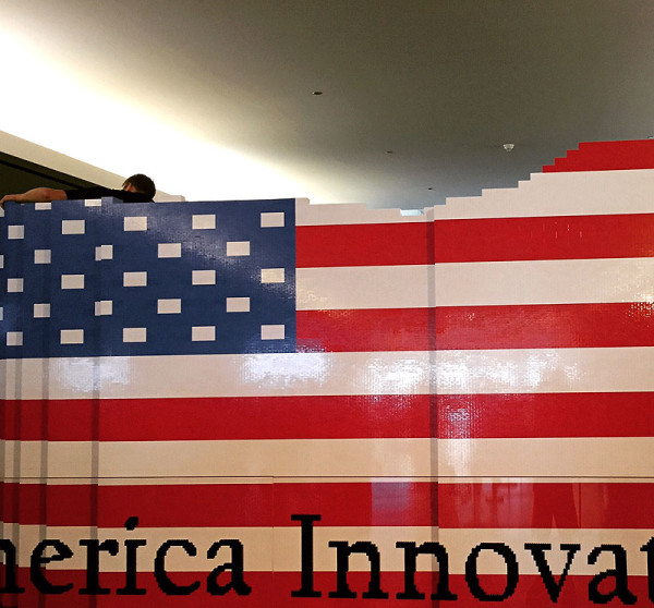 American flag LEGO build at the American History Musuem -- see it on display through summer!