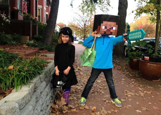 Halloween kitty and Minecraft Steve haunt the neighborhood last year