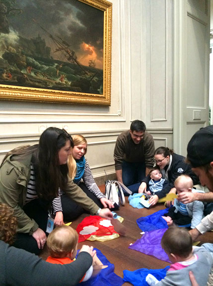 An infant class recreates a landscape at the National Gallery of Art during a class on water